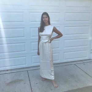 Vintage 1960s sparkling gold two piece midi set